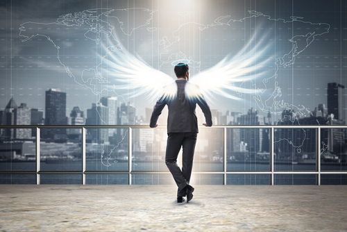 Angel,Investor,Concept,With,Businessman,With,Wings